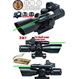 Ledsniper® 3 in 1 Combo 2.5-10x40 Tactical Rifle Scope w/ green Laser & Mini Reflex 3 MOA Red&green Dot Sight