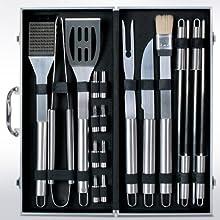 Kit ustensiles barbecue 18 pièces - en acier inoxydable - avec mallette