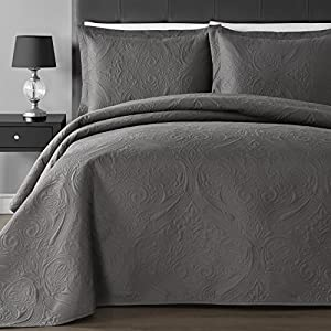 Breathable & Lightweight Modern Wireless Thermal Pressing Floral Quilted 3-Piece Coverlet Set, Gray (King/Cal King, Gray)
