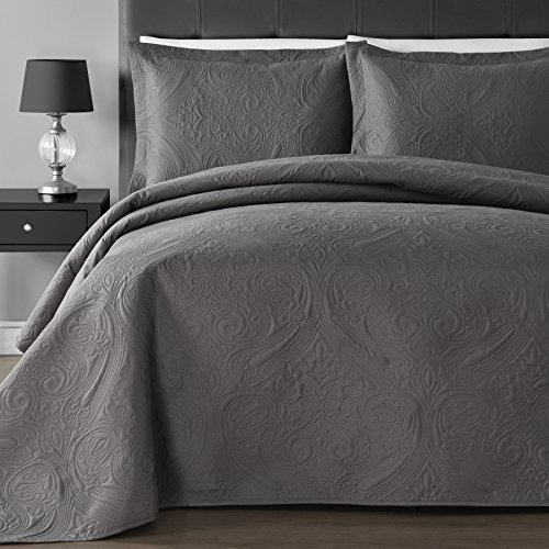 EXTRA Lightweight & Breathable Thermal Pressing Modern Quilted Imperial 3-piece Bedspread Coverlet Set (King/Cal King, Gray)