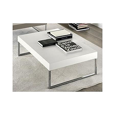 Table basse métal chromé et MDF laqué design blanc
