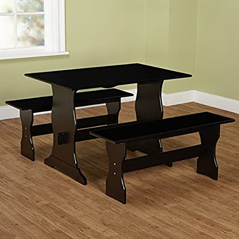 Davison 3 Piece Dining Table Set, Includes 2 Benches