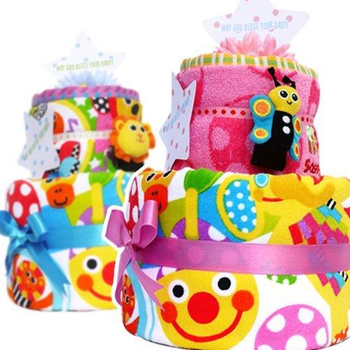 出産祝い 豪華 2段 Sassy サッシー おむつケーキ ピンク 女の子 パンパースS 手作り ベビー 出産祝いギフト 出産祝 ウォッシュタオル ピンキードット バスタオル サーカスフレンズ チャームバンド 付