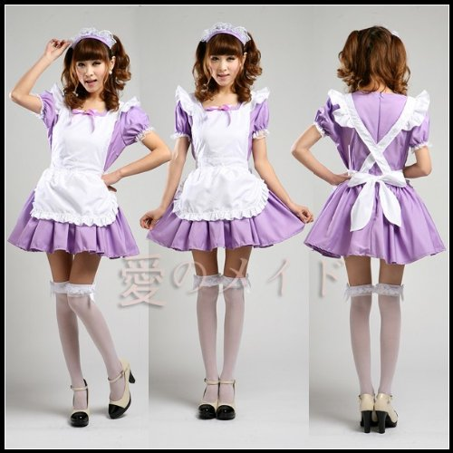 Purple Cosplay Lolita Maid Waitress Costume Dress