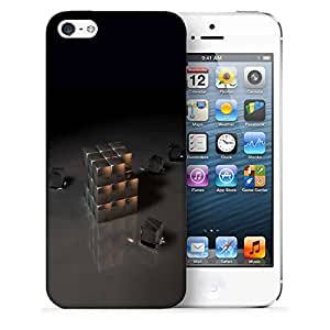 Snoogg Grey Cube Designer Protective Back Case Cover For IPHONE 5