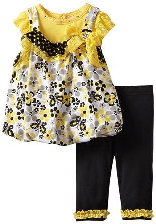 Little Lass Baby-Girls Infant 2 Piece Jumper Set with Ruffles, Yellow, 6-9 Months