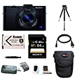 Sony DSC-RX100M II DSC-RX100M2 DSC-RX100MII RX100M2 RX100MII DSC-RX100M II 20.2MP Wi-Fi Digital Camera with F1.8 Carl Zeiss Vario-Sonnar T Lens and Full HD 1080p Video at 60fps + Sony 64GB SDHC Class 10 Memory Card + Wasabi NP-BX1 Battery Pack + Sony Camera Case + Micro HDMI Cable + Focus Multi Memory Card Wallet