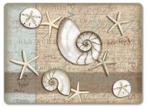 CounterArt Hardboard Placemat, Linen Shells, Set of 2