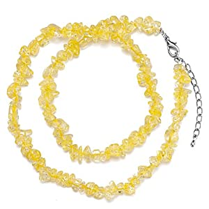 Pugster Genuine Bright Yellow Charm Gemstone Nugget Chips Stretch Pendant Necklace For Women