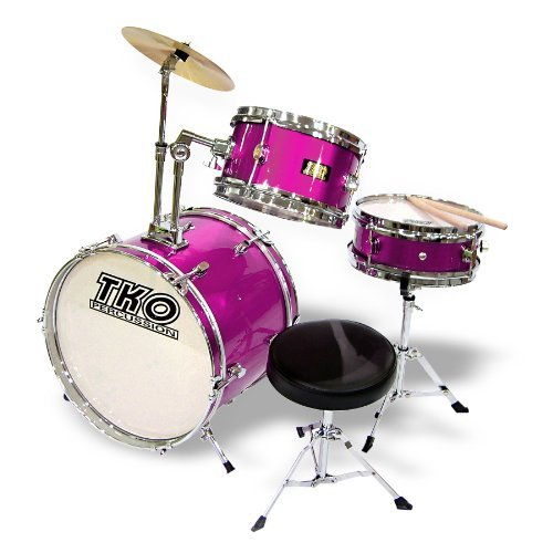 TKO 3-Piece Junior Childrenskids Drum Set with Seat - PINK