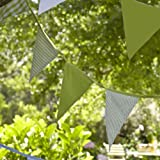 Lakeland Garden Party Summer 100% Cotton Bunting - Green Stripe & Checks (5m)