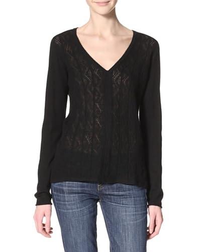 Qi Cashmere Women's Klara Pullover  - Black