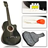 Black Cutaway Acoustic Guitar with Accessories Combo Kit Beginners