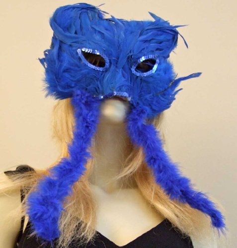 Cat Scratch Fever Blue Mask Feather Venetian Mask Mardi Gras Masquerade Halloween