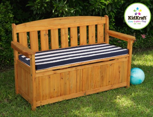 For Kids Only, Inc. Outdoor Storage Bench with Navy Stripe Cushion