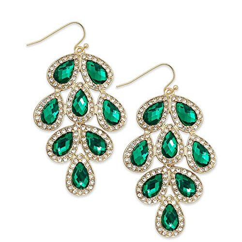International Concepts Leaf Chandelier Earrings (Green) (INCJWGRN20686)