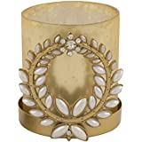 Orlando's Décor Jasmine And Tuberose Candle In Golden Broach Holder By Resonance Material Metal And Glass