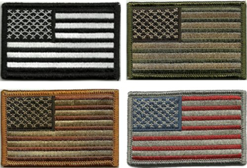 Bundle 4 Pieces - Tactical USA Flag Patches - Multi-colored