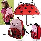 Ladybug Umbrella & Ladybug Kids Animal Insulated Lunch Bag & Cartoon Backpack. 3 Pc Gift Kids Set
