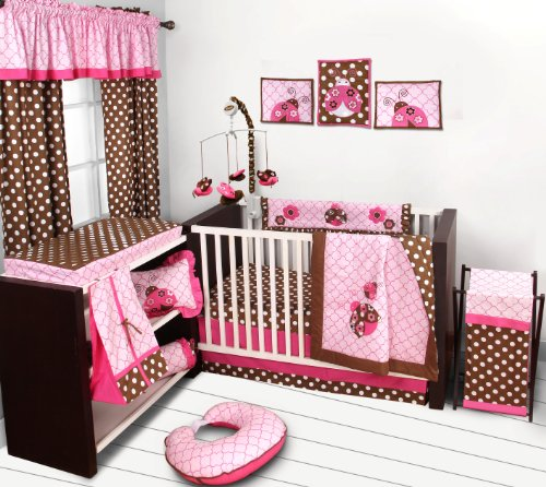 Lady Bugs pink/chocolate 10 pc Crib Set Bumper free - 1