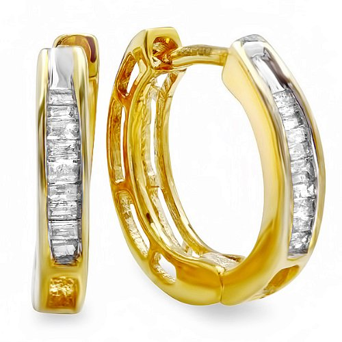 0.15 Carat (ctw) 18k Yellow Gold Plated Sterling Silver Ladies Baguette Diamond Huggies Hoop Earrings