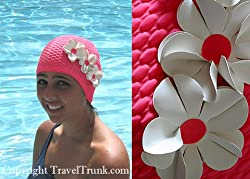 Old Fashioned Floral Swim Cap, Beautiful Flower Petals - Pink/White