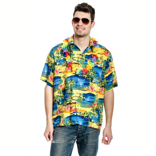 Kostümplanet® Hawaiihemd Hawaii Hemd Beach Party Hawai Hemd Blumen Größe 52/54