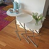 lounge-zone-Design-Beistelltisch-Couchtisch-Wohnzimmertisch-Tisch-TRIGO-retro-look-skandinavisch-rund-hochglanz-wei-Chrom-3-teilig-Set-13123