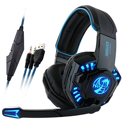 GranVela I8 Wired Gaming Headset Over-Ear Stereo Headphones with Mic, Noise Isolation and LED Lighting for PC Computer Laptops - Blue