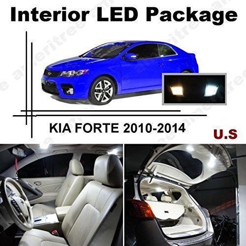 Ameritree Xenon White Led Lights Interior Package + White Led License Plate Kit For Kia Forte 2010-2012 (7 Pcs)
