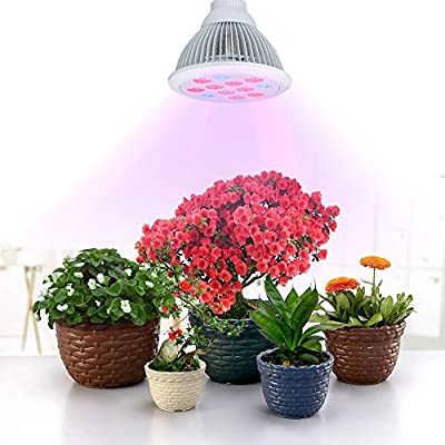 VicTsing 12 LED Indoor Garden Plant Grow Light Bulb - 36W E27(3 Blue LED & 9 Red LED) Hydroponic Lamp for Flower Plants Growth Vegetable Greenhouse