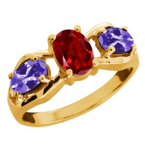1.80 Ct Oval Red Garnet and Tanzanite Gold Plated Sterling Silver Ring