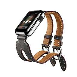 EloBeth for Apple Watch Band Series 2 Series 1,Double Buckle Cuff Apple Watch Leather Band, iWatch Band Genuine Leather Band Wrist Watch Band with Adapter for Apple Iwatch (Double Cuff Grey 42mm)