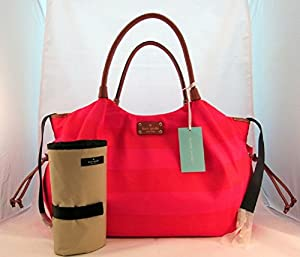 Kate Spade Stevie Baby Bag Cambrifge Stripe WKRU1727 in Desert Rose Red from Kate Spade