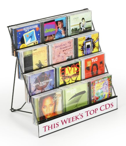 "Set Of 2 -Black Wire Display Rack, Four-Tiered Magazine Stand With 2-1/2""D Pockets - Perfect For Cds!"