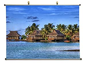 Amazon.com: marvelous bungalows in a maldives resort hdr - Canvas Wall