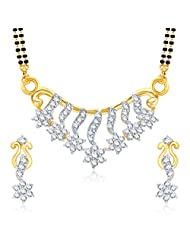 MEENAZ GRACEFUL CZ GOLD AND RHODIUM PLATED MANGALSUTRA SET