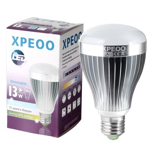 Xpeoo® A19 Dimmable 95W 75W 60W Led Bulb E27 E26 13W 10W 7W Lamp Light Replacement Uses Energy Saving Smd Cool White 5500-6000K(Effect Of Philips) (1200Lm/13W=95W)