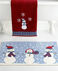 "Martha Stewart Collection Snowman Fingertip Towel, 12"" x 18"" Red"