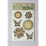 Asianhobbycrafts Vintage Wooden Scrapbooking Sticker Embellishments Home Decorations DIY : 1 Card : 1 Pack (WF15)