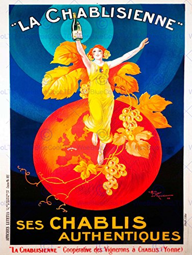 ADVERT CHABLIS WINE FRANCE ARTISTIC VINTAGE POSTER ART PRINT 12x16 inch 30x40cm 795PY (Vintage Wine Poster compare prices)