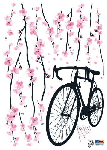 HYUNDAE Sheet Easy Instant Home Decor Wall Sticker Decal - Perfect Sakura Blossoms Pink Bicycle