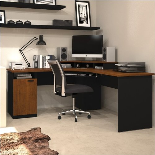 Bestar Office Furniture Hampton Collection Tuscany Brown Corner Desk with Small Storage Hutch