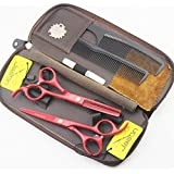 Jason 5.5 inch Professional Red Hair Cutting and Thinning Shears/Scissors Replacement for Barbershop (Color: Red, Tamaño: 5.5 inch)
