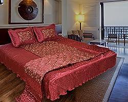 Rangsthali Home dcor Floral Designer Gold Printed Satin Double bed Bedding set (Set of 4 pcs) Diwali Offer