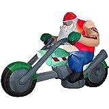 Gemmy Airblown Inflatable Santa on Motorcycle Chopper Huge 7' Long!