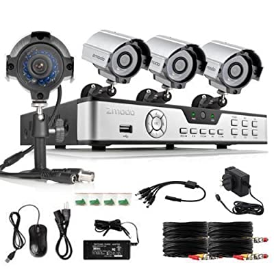 Zmodo 8CH HDMI 960H DVR 4x700TVL Outdoor Indoor Day Night IR-CUT CCTV Surveillance Home Video Security Camera System No Hard Drive Motion Detection Push Alerts 2 Years Warranty