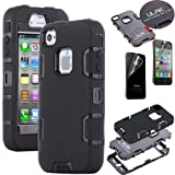 Pandamimi ULAK(TM) Luxury Triple Layer Combo Hard Soft High Impact Hybrid Durable Armor Case Cover for Apple iPhone 4 4S with Screen Protector (Style A-Black+Black) Reviews