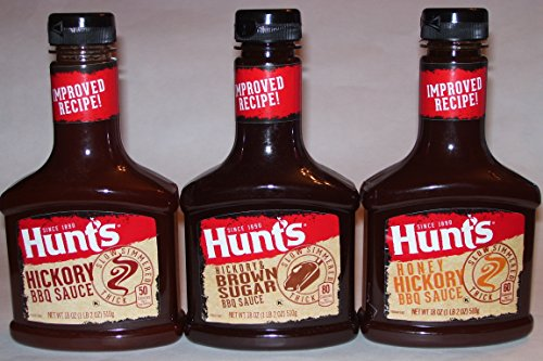 Hunt'S BBQ Sauce 3-Bottle Variety Pack: Hickory, Hickory & Brown Sugar, Honey Hickory (18 Oz. Each)