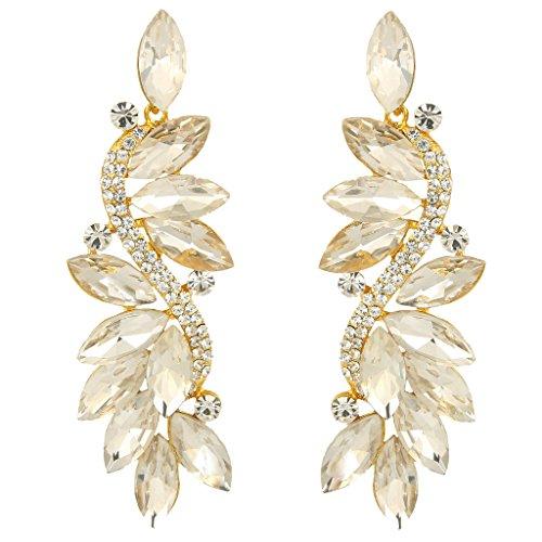 EVER FAITH® silver-tone di cristallo austriaca di nozze in stile Art Déco Cluster Trafitto Orecchini Cancella